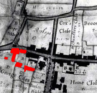 The George Inn, 1718 - shown in red [X1/97/5]